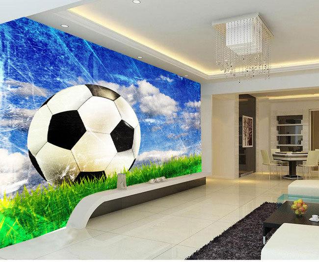 Large mural living room bedroom study paper soccer sports style 3D wallpaper mural