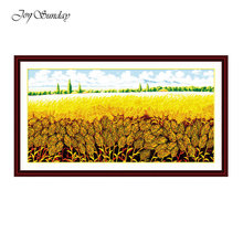 Bumper Harvest Joy Sunday Cross Stitch Patterns 11ct 14ct Printed Kit Counted Landscape Embroidery