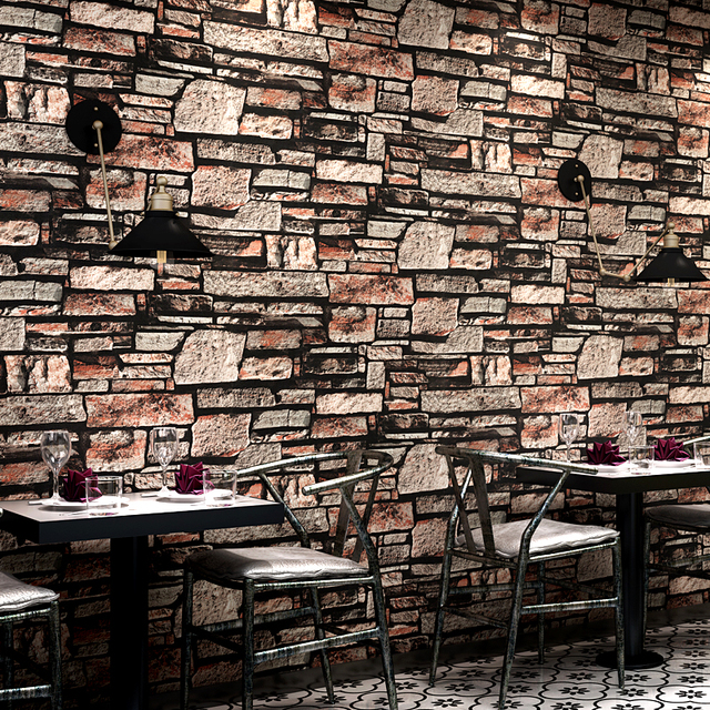 Living Room Restaurant Kitchen Wall Papers Home Decor 3D Brick Wall Faux  Stone Effect Wallpaper Wall