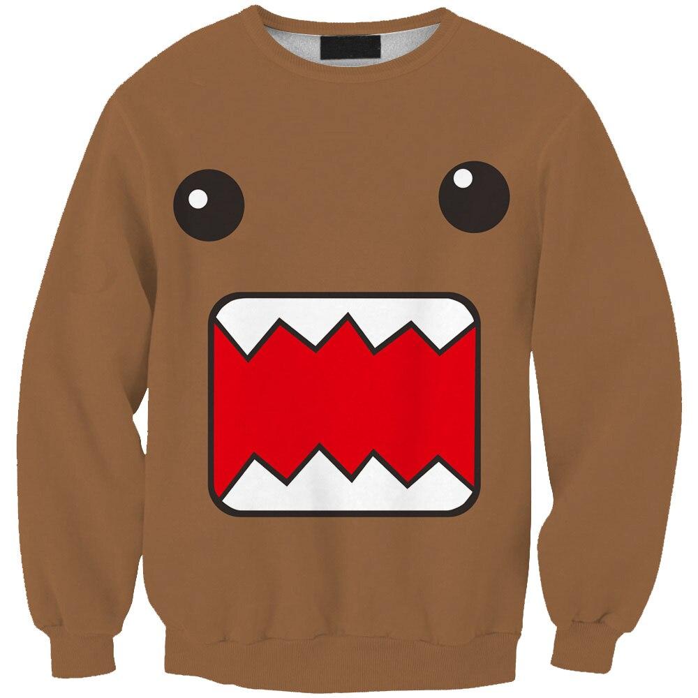 Sudaderas унисекс Кофты Осень коричневый Цвет мультфильм печатных sudadera Повседневное худи Harajuku модные Стиль пуловер