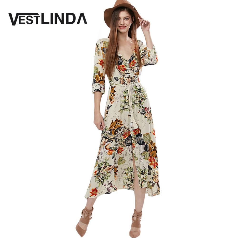 VESTLINDA Vintage Dress Allover Floral Print Elestic Waist Split Long Dress V Neck 34 Sleeve Robe Femme Women 2017 Summer Dress 1