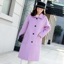 2019 New Fashion Autumn Single Breasted Winter Women Long Loose Coat Black/Citron Purple