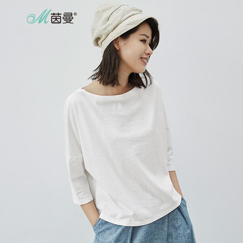 INMAN Women 2019 Nueva camiseta de tres cuartos con cuello redondo de algodón liso