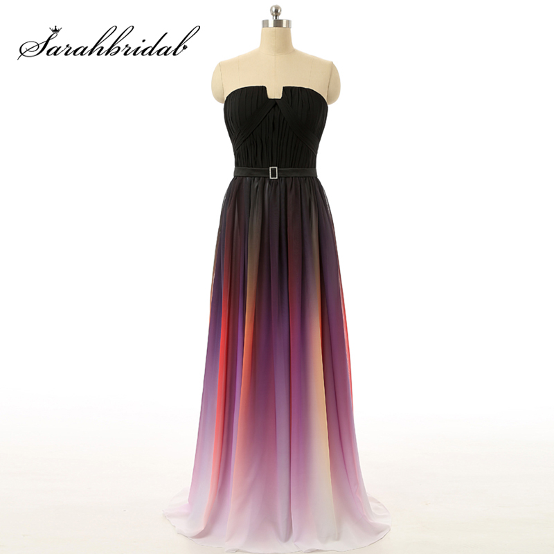 2018 Ombre Prom Dresses Gradient Gala Dress Sexy Strapless Long Evening Gowns Rainbow Prom Pleated Chiffon vestidos de formatura