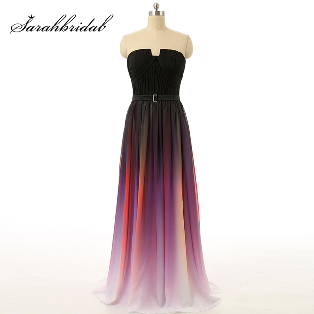 7d75327156 2018 Ombre Prom Dresses Gradient Gala Dress Sexy Strapless Long Evening  Gowns Rainbow Prom Pleated Chiffon vestidos de formatura