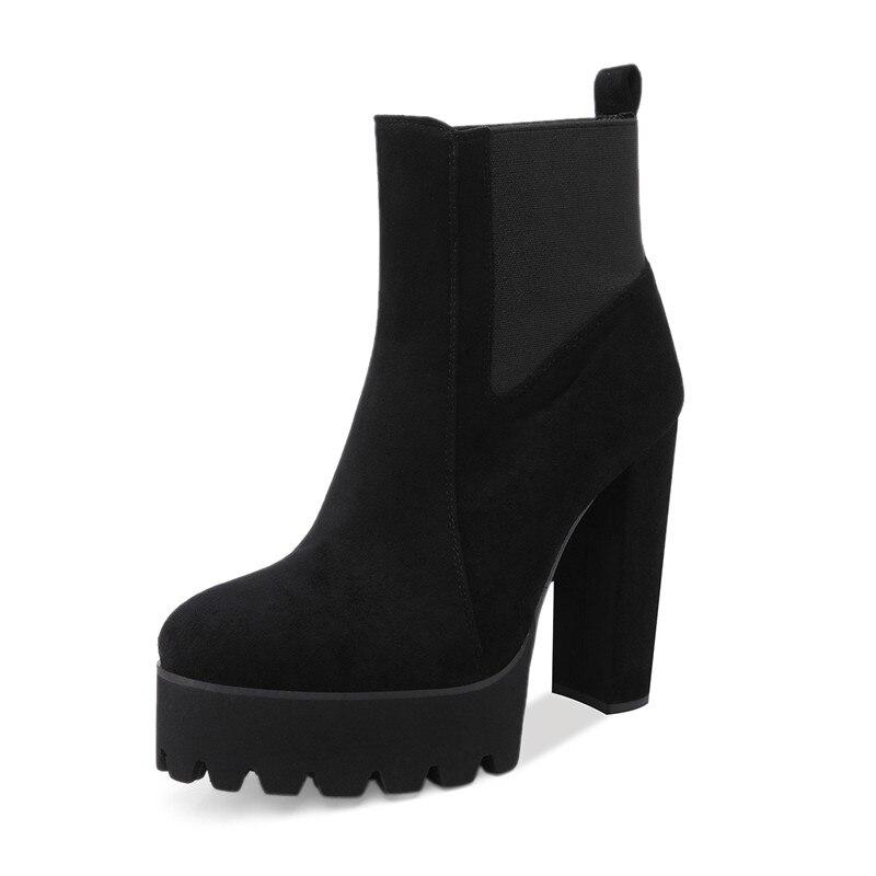 Damas Zapatos P8407b De Mujeres Para Us15 ~ Onlymaker Alto Plus Botas Invierno La Tamaño Plataforma Del Pie Us5 Tobillo Dedo p8407a Las Redondo Tacón qPR1w