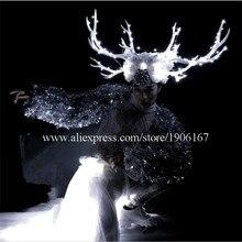 Белые рога этап Костюмы для бальных танцев костюм со светодиодной подсветкой рога голову Костюмы вечерние Рождество производительность DJ певица одежда костюм для танцев