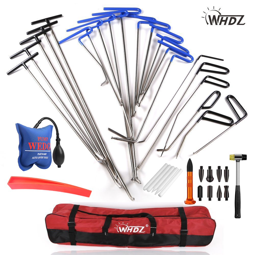 WHDZ Dent Repair pump wedge Tools Rubber Hammer Tap Down Pen Dent Hail Removal Repair Tools PDR Hook Tools Push Rod PDR