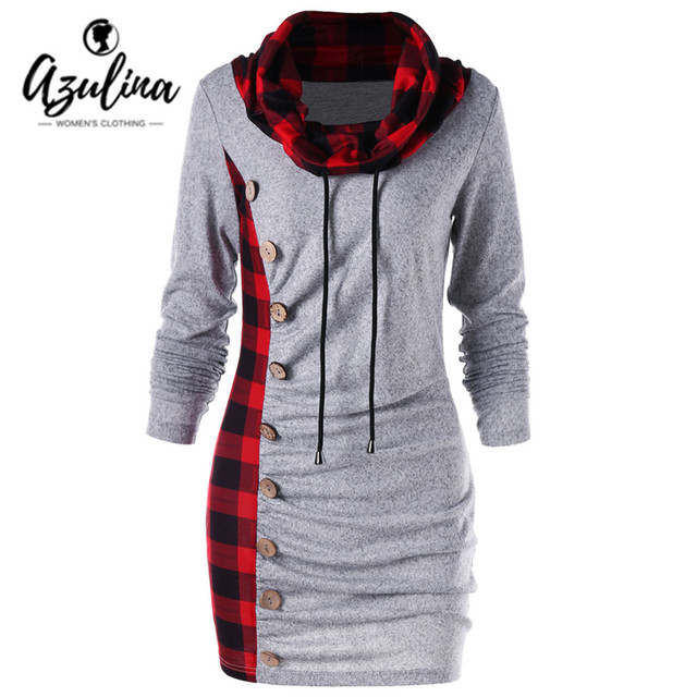 AZULINA Plus Size M-2XL Sweatshirt Dress Women Buttons Plaid Cowl Neck Drawstring Casual Dress Hotsale Autumn Dresses Vestidos