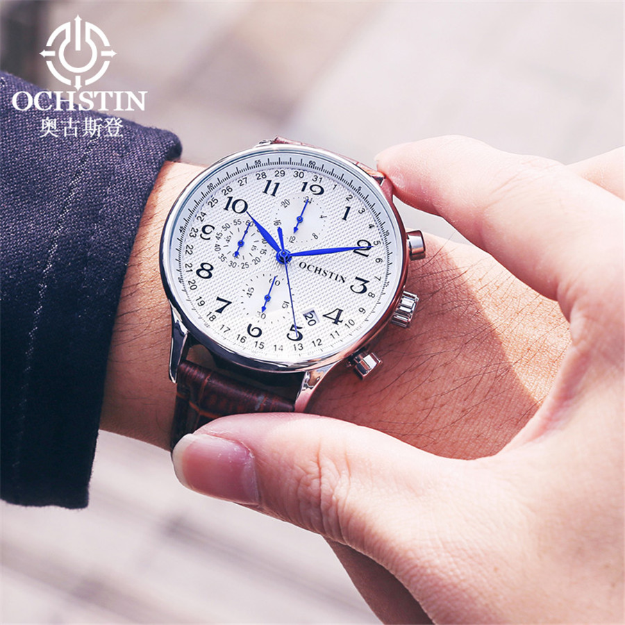 Image 4 - Rose gold case Fashion Blue pointer Chronograph Mens Watches Top Brand Luxury Quartz Watch Men Leather Waterproof Sport Watch-in Quartz Watches from Watches
