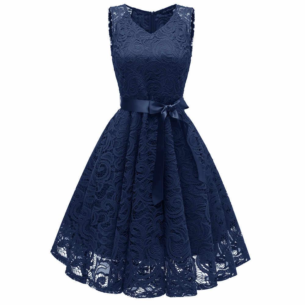 ヴィンテージレースのドレス滑走路ドレス夏 vestido 弓ベルト V ネックパーティー A ラインキャミなドレス Vetement ファム vestidos