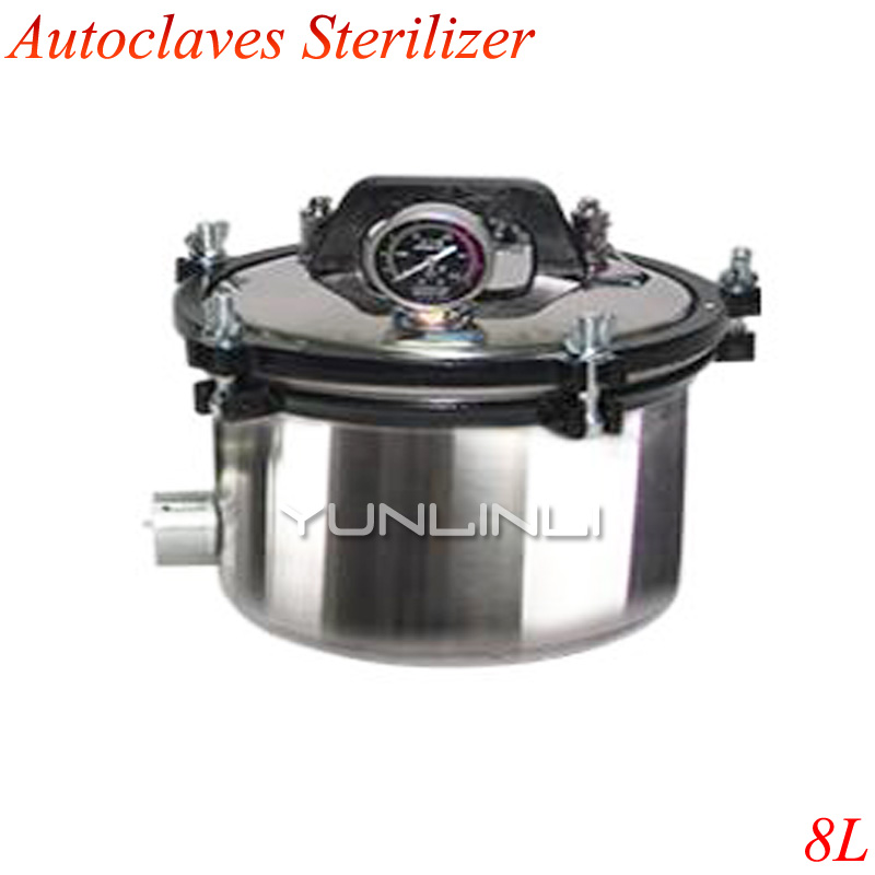 8L Stainless Steel Sterilization Autoclave Pot Portable Pressure Steam Sterilizer Pot Surgical Medical With Anti-Dry XFS-280A medical stainless steel pot oil pot