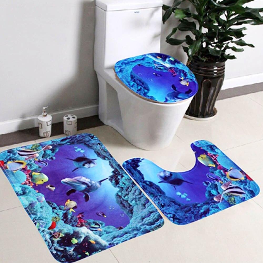 3 stücke Meer Welt Dolphin Stil Nicht-slip Bad Anti-slip Wc-sitz Deckel Abdeckung Sockel Teppich Teppich boden Matte Set