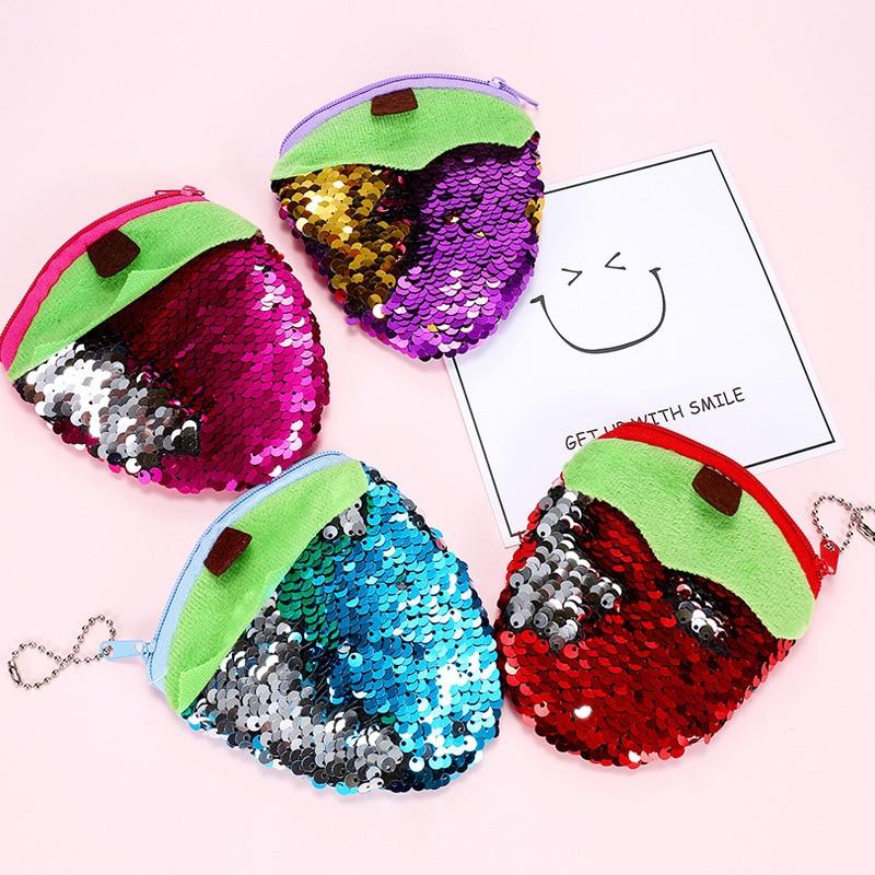 Фото Plush fruit Purse women purse pocket change wallet for girls round organizer earphone pouch portable cute childern zipper purse