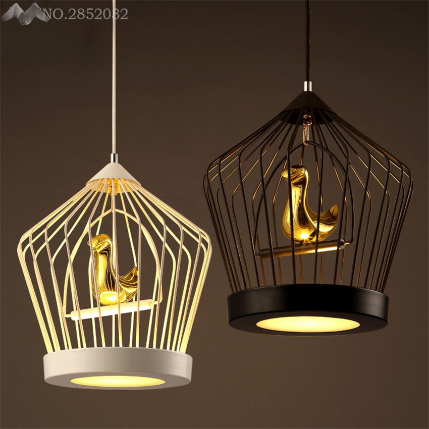 Nordic creative bird cage pendant lamp modern simple ...