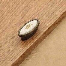 32MM kitchen cabinet knob handle ceramic drawer pull antique brass bronze dresser wardrobe furniture handles pull