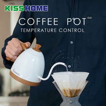 0.6L/1L Electric Coffee Drip Kettle Stainless Steel Temperature Control Pot 220V 1000W 50HZ Wooden Handle Slender Mouth 0.7L Pot недорого