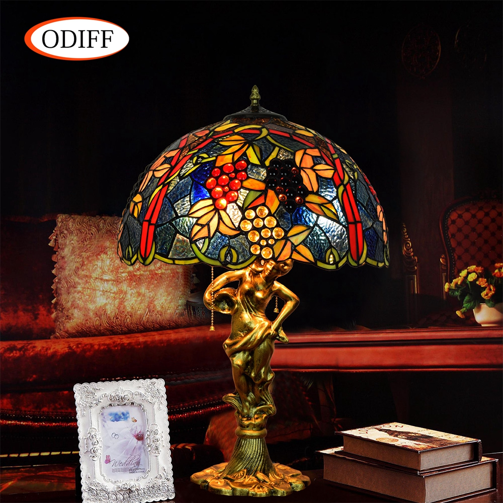 ODIFF European luxury creative garden Stained glass living room Red Grape Table Lamps Bar, bedroom, office Hote art lamp 90-260V