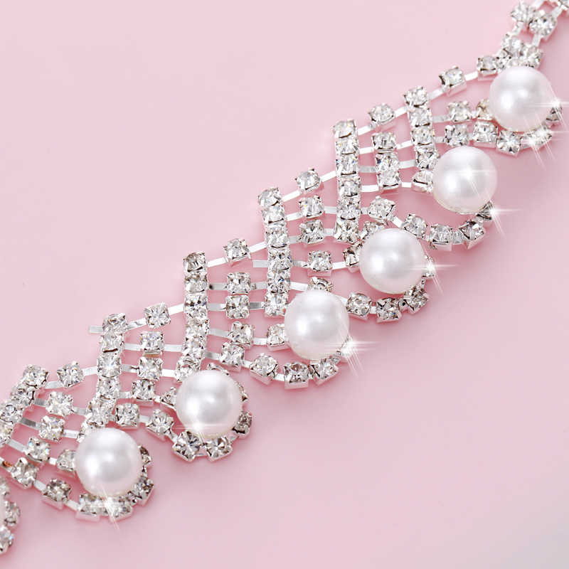 Fashion Simulated Pearl Bridal Wedding Jewelry Sets Silver Multi-layer Chocker Necklace Earrings Sets Wedding Engagement Jewelry
