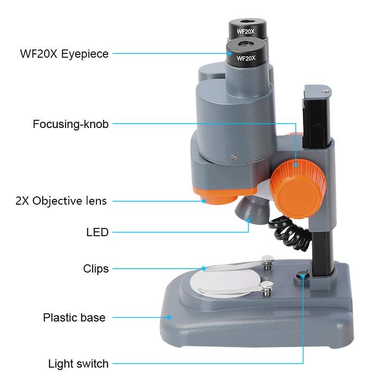 Tools : AOMEKIE Binocular Stereo Microscope 20X 40X Above LED Lights PCB Solder Tool Mobile Phone Repair Mineral Watching Microscopio