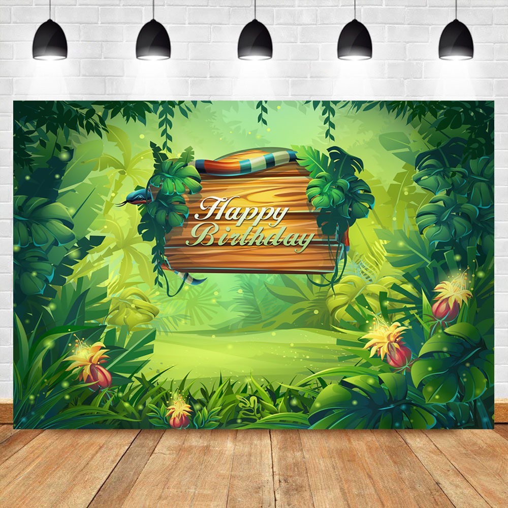 Neoback Jungle Theme Birthday Party Background Photography Green Plant Custom Vinyl Photography Backdrops Studio Shoots in Background from Consumer Electronics