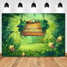 Neoback Jungle Theme Birthday Party Background Photography Green Plant Custom Vinyl Backdrops Studio Shoots