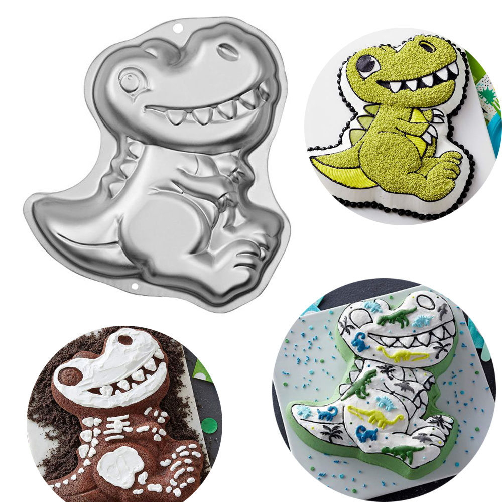 3D Dinosaur Shape Cake Cookie Molds Fondant Cake Decorating Tools Jelly Molds Kitchen Pastry Baking Tool-in Cake Molds from Home & Garden