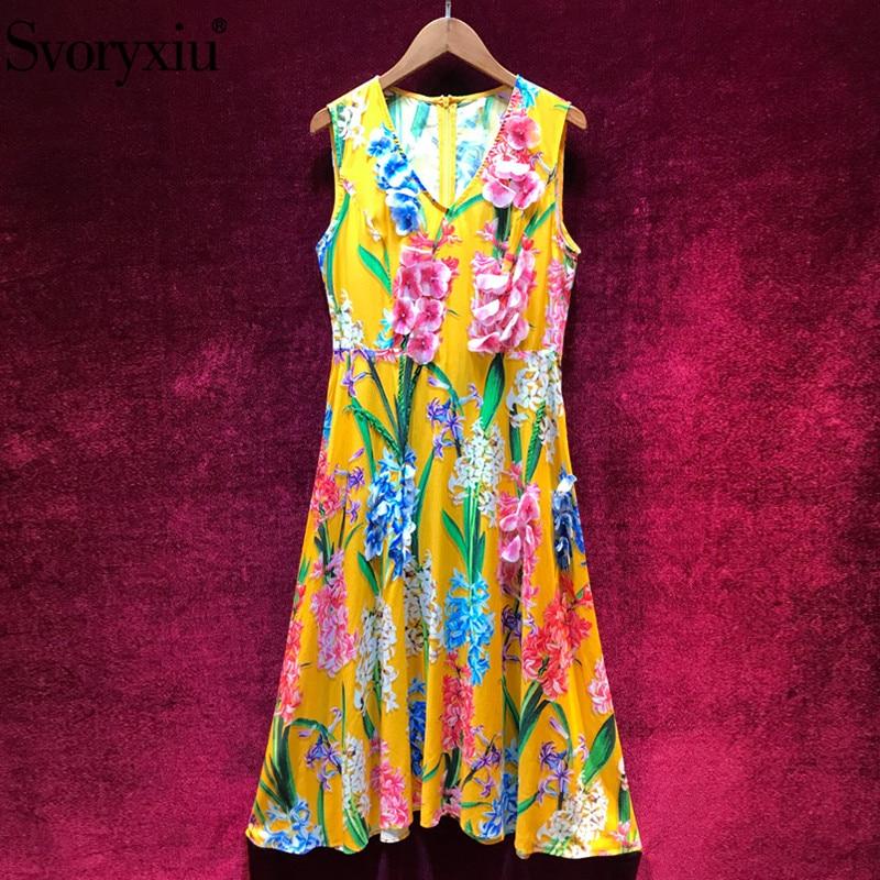 Svoryxiu Designer Summer Party Sexy V Neck Dress Women s Fashion Beading Applique Flower Print Beach