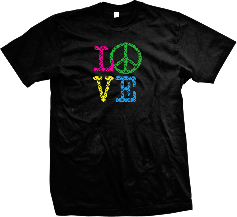 Love Peace Sign Psychadellic Hippie Flowerchild Mens T-shirt free shipping cheap tee Fashion Style Men Tee mens tee shirts