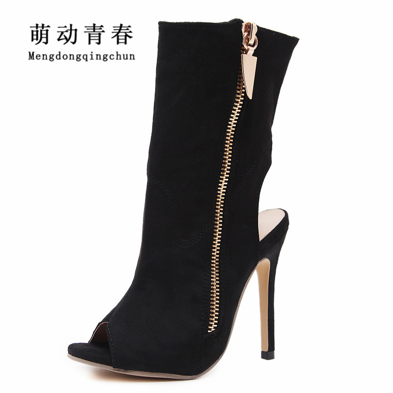 2018 New Spring Summer Women High Heels Fashion Peep Toe Women Ankle Pumps Flock Thin Heel Lapel Side Zipper High Heel Sandals fashion summer apricot sandals charming multi buckles design woman high heels ankle buckles cover heel back zipper free ship