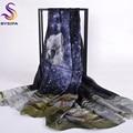 [BYSIFA] verano de Las Mujeres Azules de Seda Larga Bufanda de la Playa Cover Up Nuevo Bufandas de Seda Pura 200*110 cm Del Otoño Del Resorte marca Bufandas Wraps