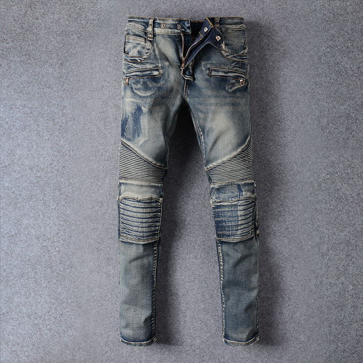 Denim Biker jeans Mens Skinny New Runway Distressed Slim Elastic Jeans Men Hip Hop Swag Washed Motorcycle Cargo Pants Plus Size