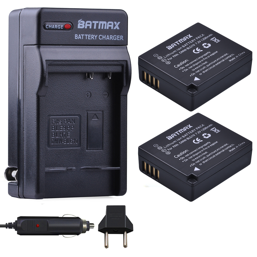 2Pcs DMW-BLG10 BLG10E DMW-BLG10PP Battery + AC Charger for Panasonic DMC-GF6 GF3 GF5 GX7 GX80 GX85 GX7 Mark II,DMC TX1 DMC-LX100