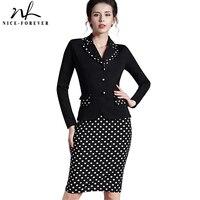 Nice-para sempre do vintage polka dot xadrez bainha lápis de trabalho formal dress botões entalhado completo manga comprida business casual dress b246