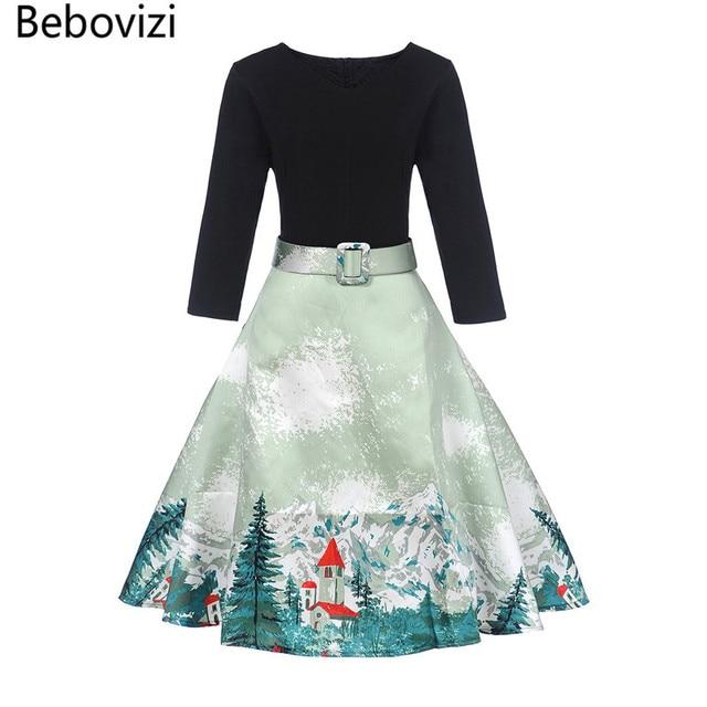 US $15.89 30% OFF|Bebovizi 2017 New V neck Plus Size Dress 1950s 80s 60s  Style Black Patchwork Slash Elegant Female Dresses Women Party Dress-in ...