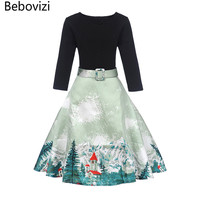 Bebovizi 2017 New V neck Plus Size Dress 1950s 80s 60s Style Black Patchwork Slash Elegant Female Dresses Women Party Dress