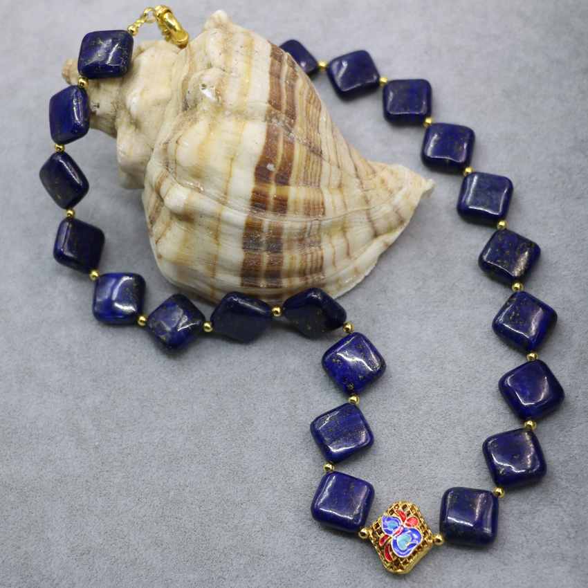 14mm natural blue lapis lazuli square shape beads chain necklace for women elegant cloisonne chokers diy jewelry 18inch B3022