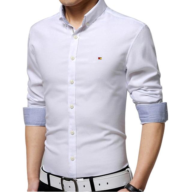 Весна 2016 мужская городской моды рубашка Корейский Тонкий мужской рубашку с длинными рукавами вышитые железа оксфорд рубашка кардиган