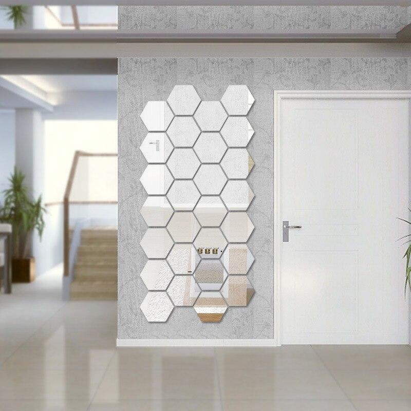 Геометрический шестиугольник зеркало стены Стикеры 4*7*8 см 12 шт. DIY Домашний Декор увеличить живут кроватями съемный детская безопасность ...