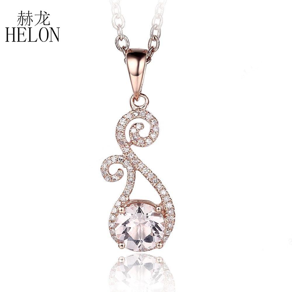 HELON Real Diamonds Round Cut Morganite Pendant Solid 10K Rose Gold Natural Diamonds Pendant Gemstone Women's Fine Jewelry