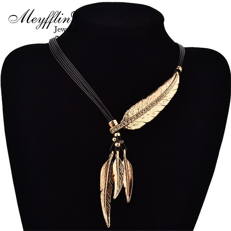 Fashion Alloy Feather Statement Necklaces Peandants Rope PU Leather Collier Vintage Jewelry
