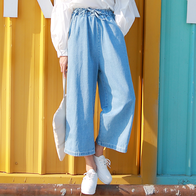 2017 fashion vintage blue denim wide leg pants women casual loose Ankle-Length trouser jeans harajuku elastic waist denim pants women girls casual vintage wash straight leg denim overall suspender jean trousers pants dark blue