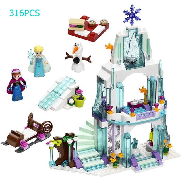 Creative Educational Building Blocks Toy For Friends Girls 6Years DIY Gift Undersea Palace Magical Ice Princess Small Bricks