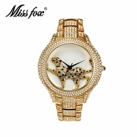 MISS FOX Brand Luxury Women Watches 3D Leopard Watch Stainless Steel Full Diamond Gold Quartz Watches Fashion Relogio Feminino
