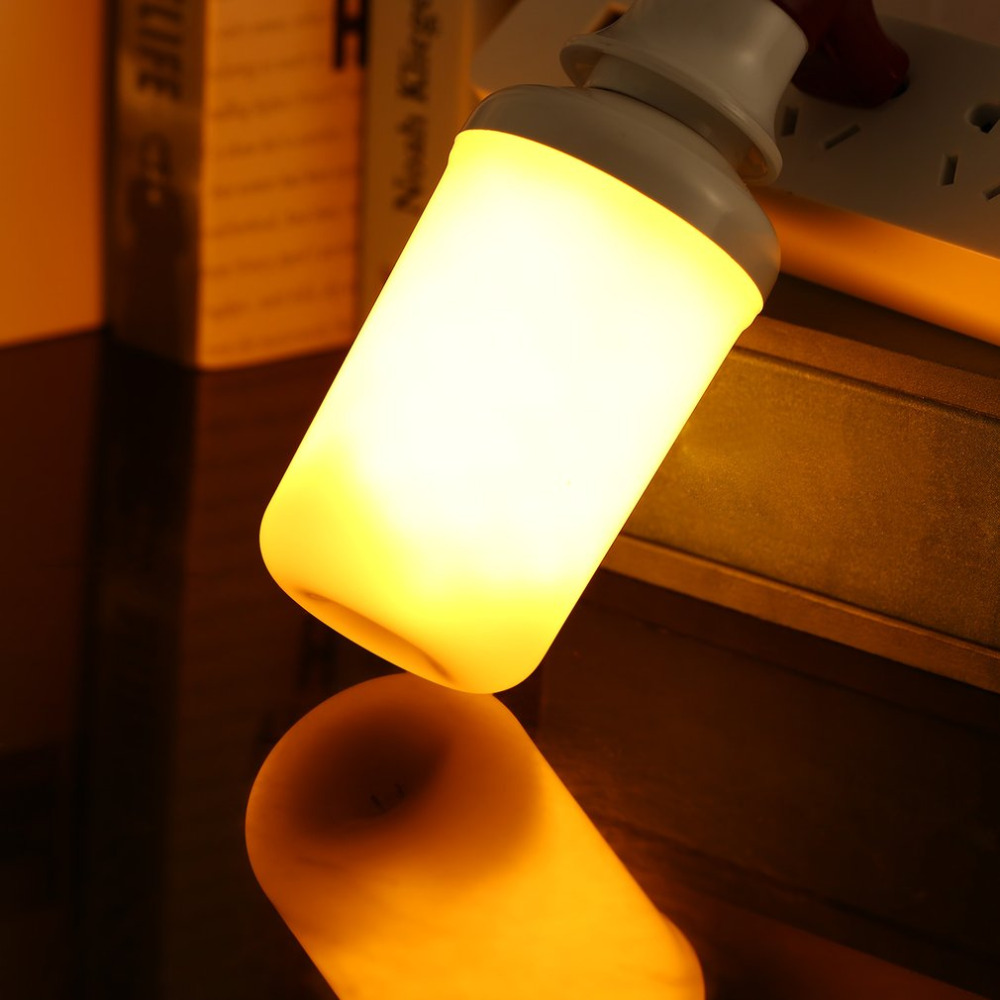 LED Flame Bulb E27 SMD2835 Flickering Effect Fire Light Bulbs Flameless Simulated Creative Lights Yellow/Red for Hotel Bars Home