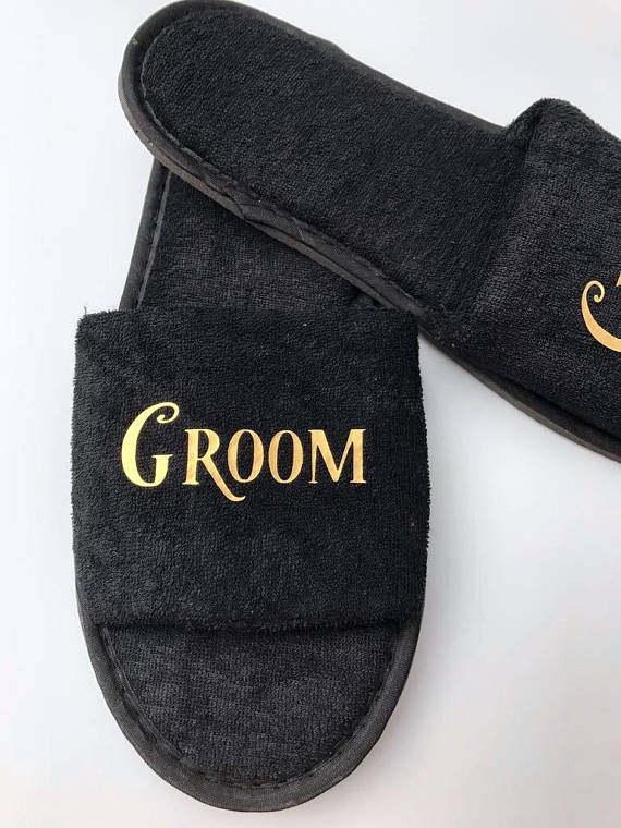 9366541c6 custom black wedding honeymoon bride groom spa slippers day groomsman  bridesman hen night Bachelorette party favors