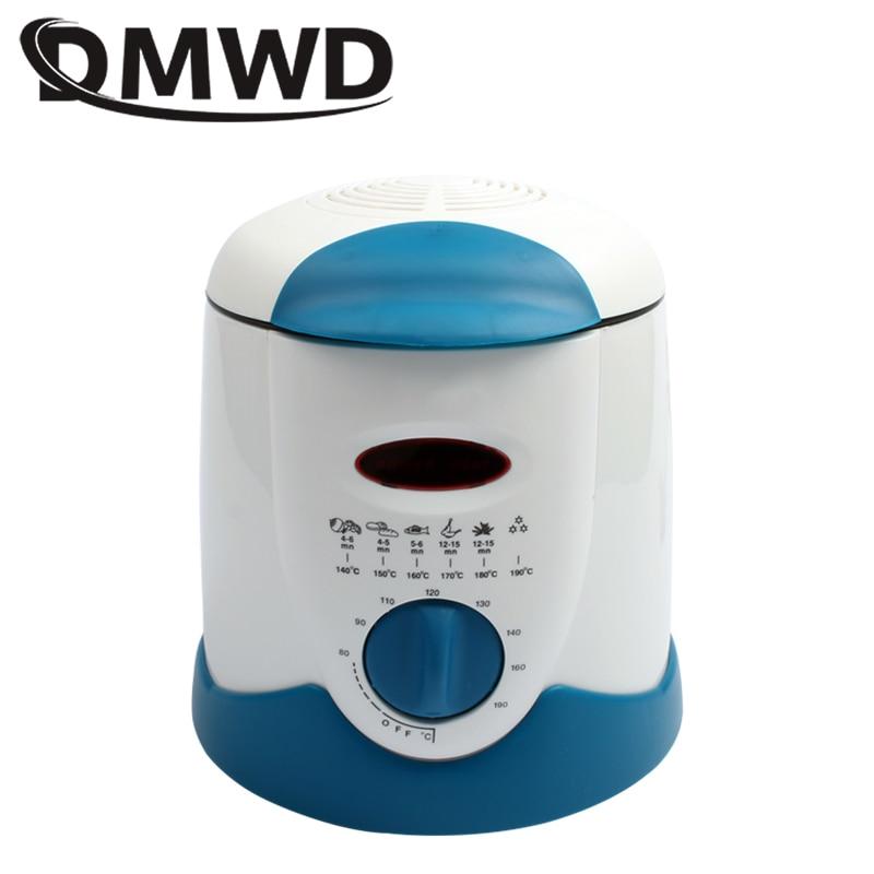 DMWD Smokeless Multifunctional Frying Pan 0.9L Mini Electric Oil Fryer Oven French Fries Grill Chicken Fried Fish Pot Machine EU