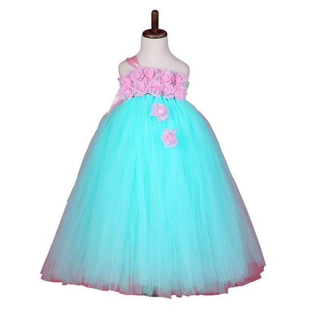Baby Girl Party Tutu Dress Mint Green With Pink Rose Girl Flower