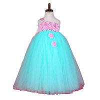 Baby Girl Easter Tutu Dress Mint Green With Pink Rose Girl Flower Dreas Birthday Wedding Party