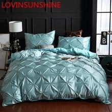 LOVINSUNSHINE ชุดเครื่องนอนผ้านวมผ้าพันคอดอกไม้เตียงผ้าลินิน US King Size ผ้าคลุมเตียงผ้าไหมชุด AN01 #
